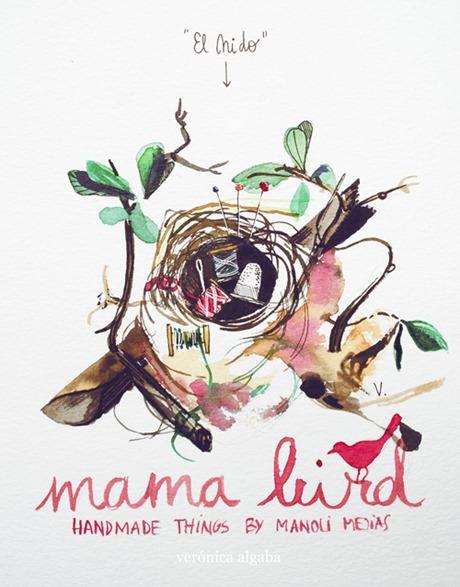 veronica algaba mamabird illustration pájaros